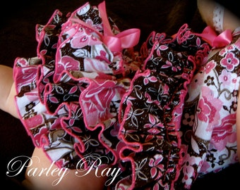 A Stunning Parley Ray Glittery Pink & Brown Pinafore Dress with Ruffled Baby Bloomers/ Diaper Cover / Photo Props