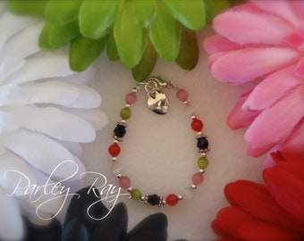 Beautiful Parley Ray Baby Girls Lady Bug Bracelet Cat Eye Beads, Heart Charm