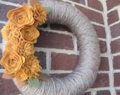 Golden Seasons Wreath, Spring or Fall yarn and felt 14 inch wreath
