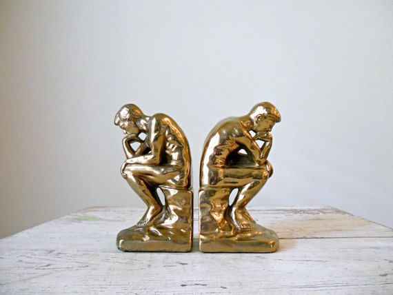 Vintage Marion Bronze Bookends - The Thinker, Pair, Rodin, 40s