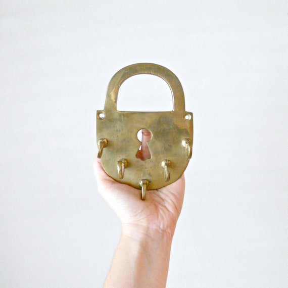Vintage Brass Key Holder - Wall Hanging, Hollywood Regency