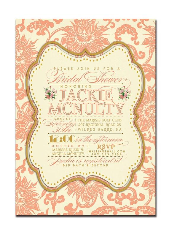 CORAL FAVOR TAGS Gold Damask Bridal Shower Thank You Label Vintage Boho  Chic Traditional Wedding Favor DiY Printable Or Printed  Jackie