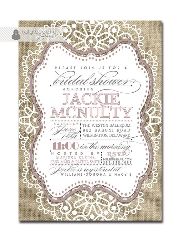 Burlap Bridal Shower Invitations is an amazing ideas you had to choose for invitation design