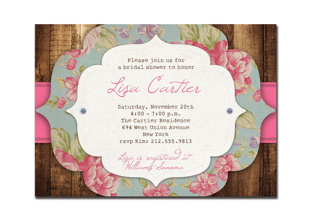 Rustic Bridal Shower Invitation Rose Baby Shower Rustic