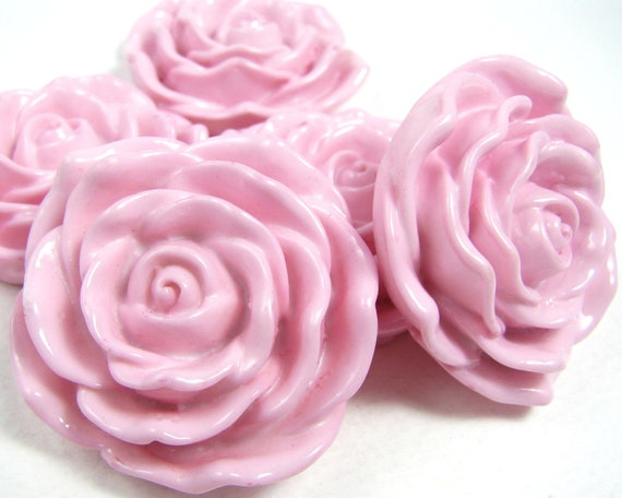 4 flower beads HUGE 48mm BABY PINK resin rose beads girls chunky necklaces