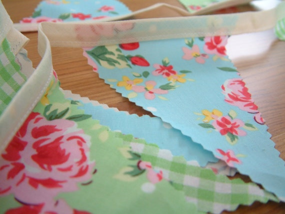 Bunting, fabric banner. Ready to ship. 2yds. Florals and gingham.