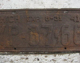 Vintage License Plate Michigan 1941 Rusty Rusted Rust Old Distressed Salvaged Metal Antique License Plate