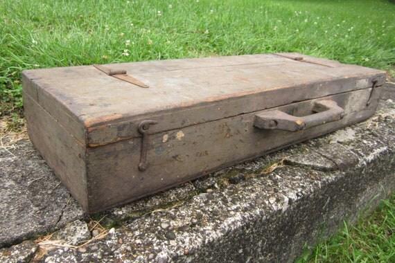 Antique Wood Box Hand Made Wooden Travelling Salesman Suit Case Unique Home Made Box Primitive Old