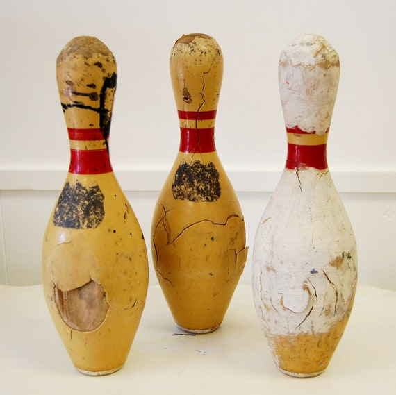 Set of Three Vintage Bowling Pins 1950s or 60s