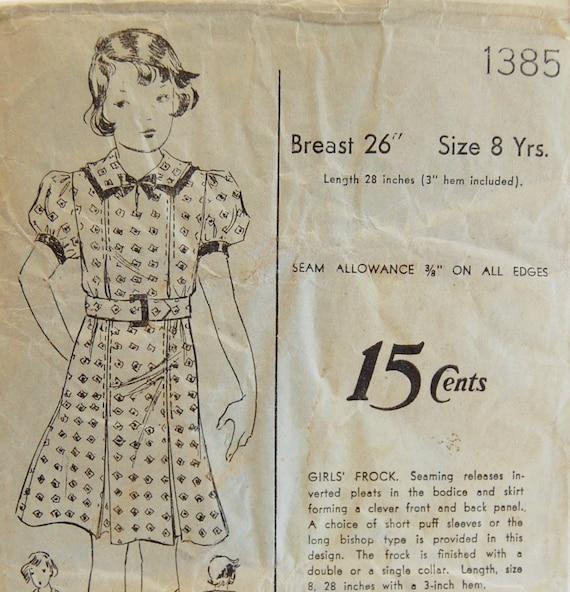 "Vintage 1930s Advance Girls' Dress Pattern 1385 Size 8 Years (26"" Chest)"