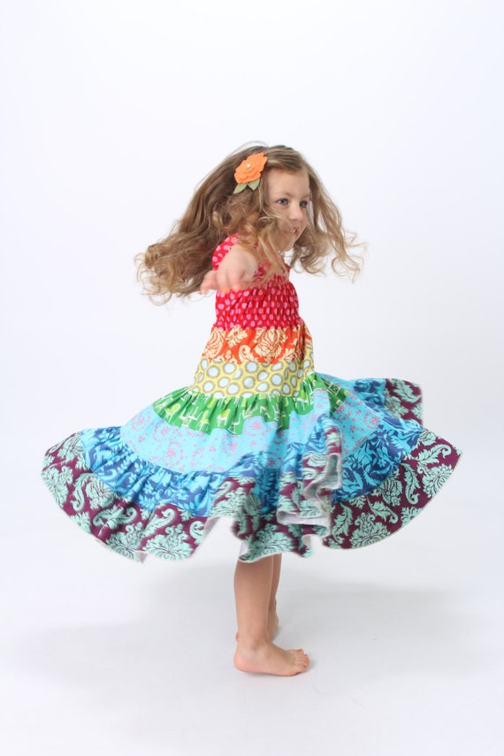 The Pinwheel Dress in Annie - Boutique Rainbow Twirl Dress Size 18 months, 2t, 3t, 4t, 5t and Girls Size 6/6X, 7, 8