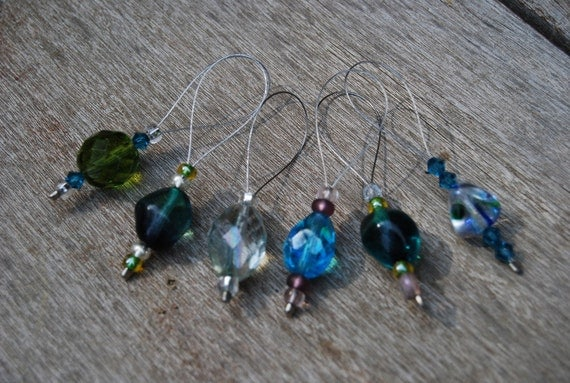 Visions of Sea Glass Beaded Stitch Markers
