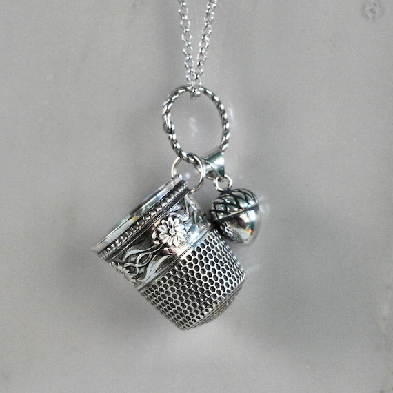 Thimble and Acorn Necklace - Peter Pan and Wendy Kiss In Solid Sterling Silver