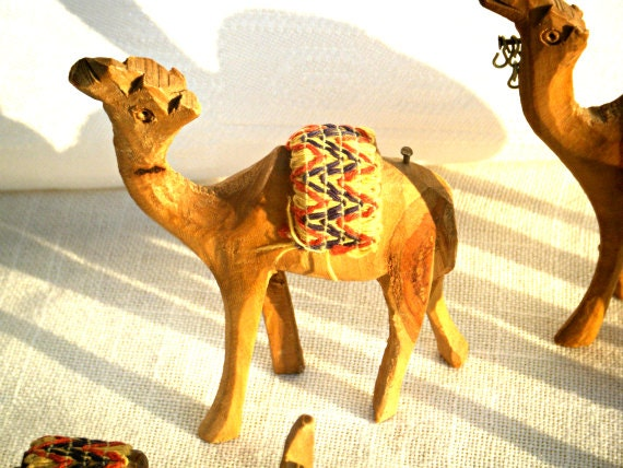 Vintage wooden animals - camels and donkey