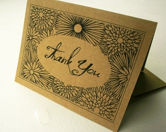 Recycled Thank You Cards, Kraft Paper