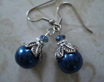 Navy  Blue  Glass Pearl Bead Earrings