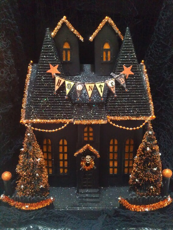 Ooak Light Up Halloween Like Department 56 Putz Haunted House