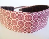 No Slip Fabric Headband Red and Cream