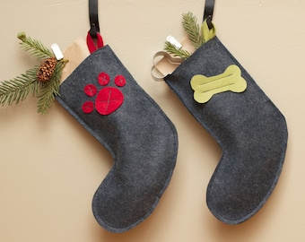 Red or Olive Green and Gray Pet Christmas Stocking