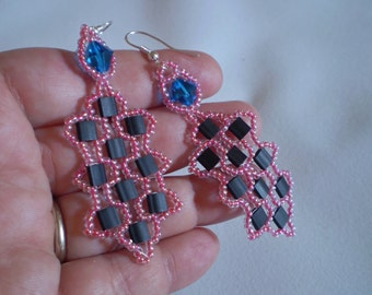 Tila Bead Beaded Earrings - Black Red and Swarovski Blue