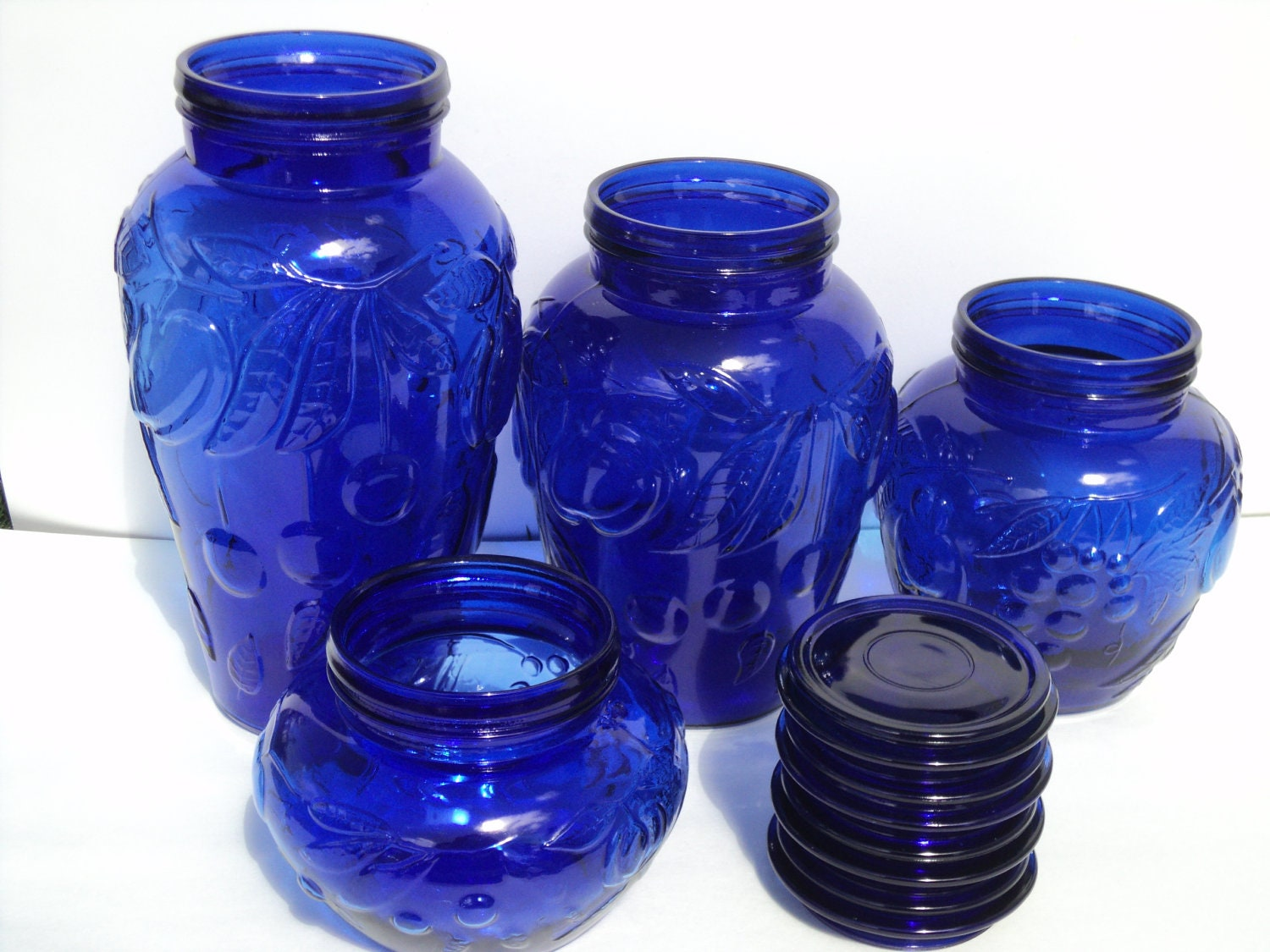 canister set of four cobalt blue apothecary glass jars vintage cobalt blue glass canisters 5 piece set kitchen