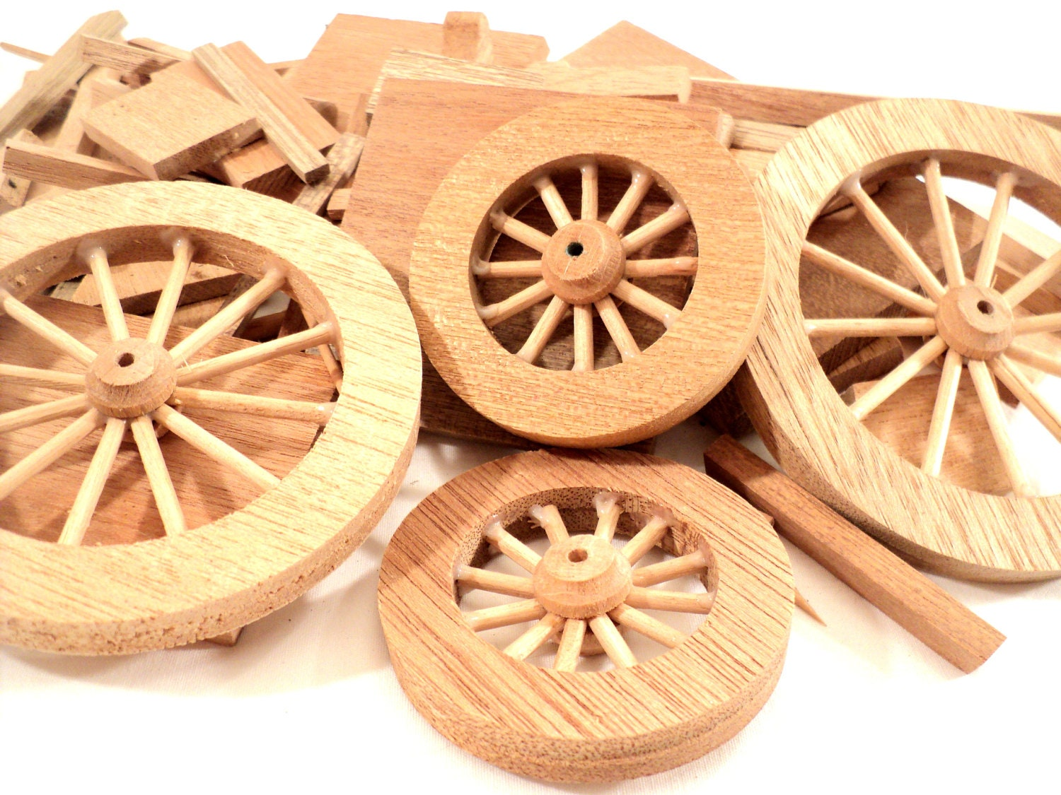Wooden Wagon Wheels ~ Toy wooden wagon parts wheels and pieces dollhouse