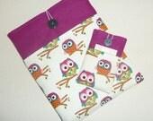 CUSTOM ORDER Michael for Cream Owl & Purple Print iPad and iPhone 4 Sleeve