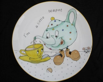 little teapot plate hand painted for a child