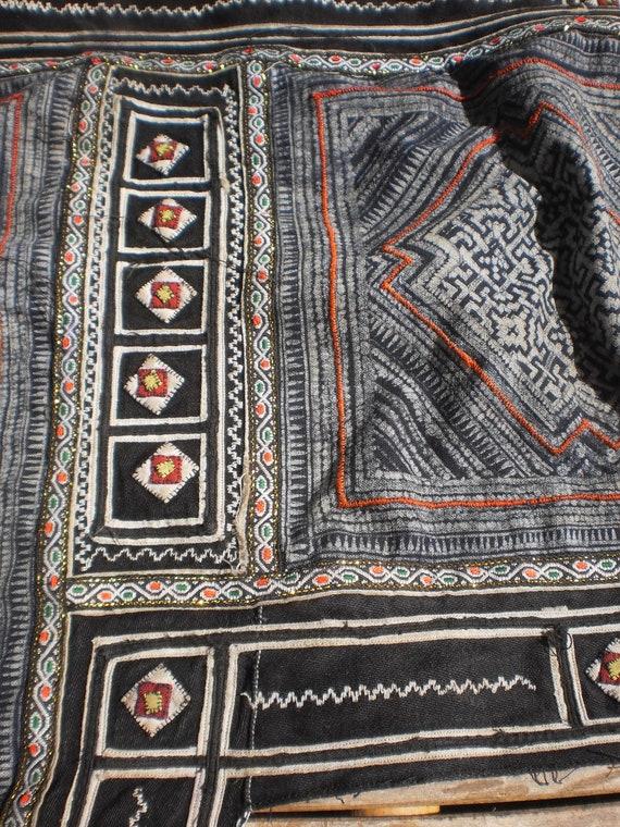 Hmong Vintage Tribal Indigo Batik  Hand Dyed And Embroided Folk Art