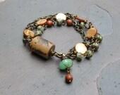 Rustic Sunflowers - Three Strand Wire Linked Bracelet - OOAK