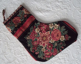 "Poinsettia Christmas Stocking by Niriahsattic Rosie Red flowers   nice and roomy equals lots of surprises  18"" long"
