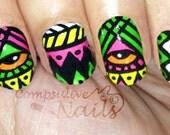 Nail polish strips. TWO SETS of Nail decal wraps. Neon aztec tribal nail art.