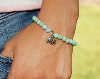 Elephant Bracelet, Turquoise, Silver