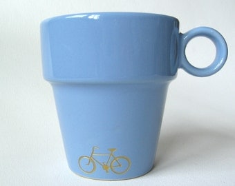 SALE reCYCLEd coffee mug with gold bicycle