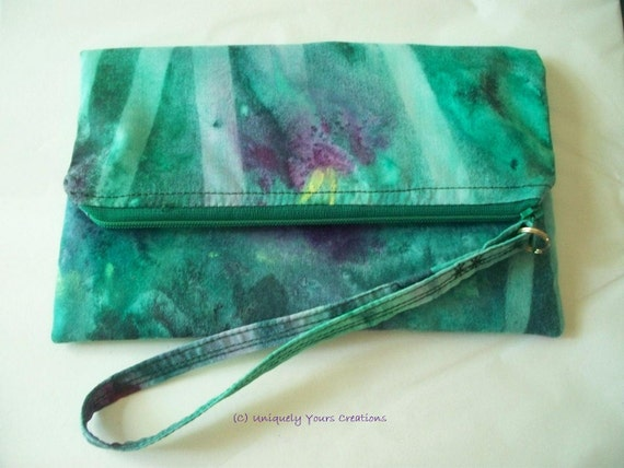 Zippered wristlet pouch - Hand dyed fabric - Emerald  sun painting