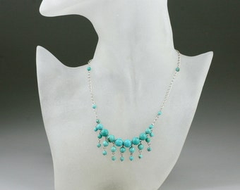 Turquoise charm pendant necklace Bridesmaids gifts Free US Shipping handmade Anni Designs