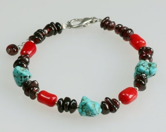 Turquoise coral garnet beaded charm bracelet Bridesmaids gifts Free US Shipping handmade Anni designs