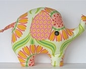 Lucky Elephant Pillow Yellow Pink Green Floral