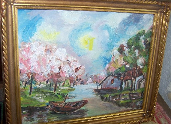 Vintage Impressionistic Painting, Landscape, Impasto Oil