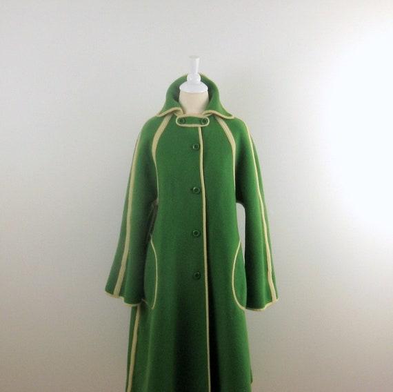 On Reserve Vintage Winter Coat - 1970s Wool in Apple Green - Reversible - Medium by Wetherall