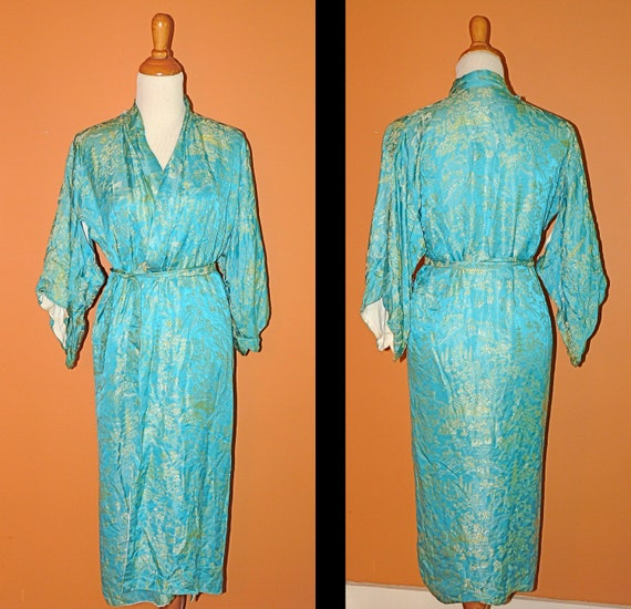 RESERVED for Lesie Turquoise Kimono Robe 1960s Size Medium / Large Belted Golden Robe with Embroidery Square Sleeves