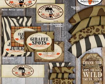 Safari Party - Favor Tags  (A La Carte) - Customized Printable (Jungle, Wild Animal, Zoo, Africa, Vintage)