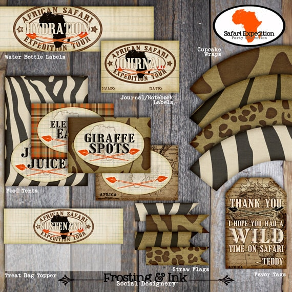 Safari Party Food Tents A La Carte Buffet Labels
