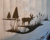 Cream with deer,  flannel, cotton print