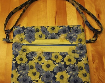 Blue and Yellow Floral Shoulder Purse