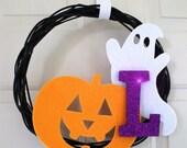 halloween wreath monogram initial customized