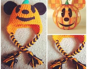 Crochet Mickey Mouse Pumpkin/Jack-O-Lantern Beanie