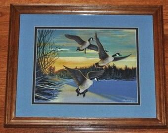 Canada Goose, Acrylic, Original Painting, Framed, Wildlife, Art, Nature, Winter Scene