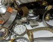 1 pound Bulk Watch parts - Whole, pieces, parts.  Great for Steampunk or collages