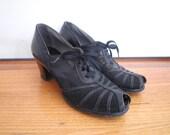 1930s/40s Mesh Peep-Toe Lace Up Heels
